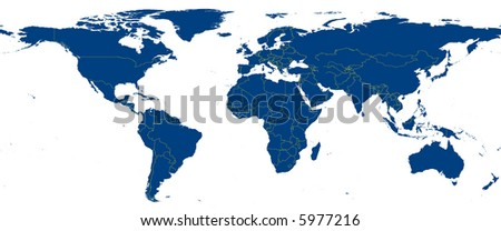Blue map of planet earth including national borders - stock photo