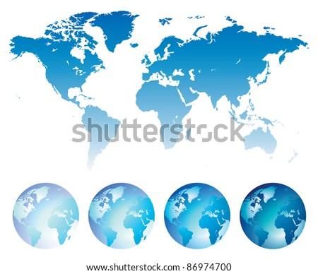 Blue map of the World and globes. Raster version. Vector version is also available. - stock photo