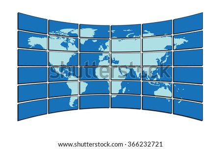 blue map on the screens - stock photo