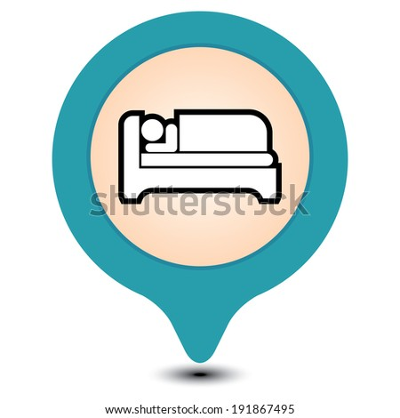 Blue Map Pointer With Hotel, Motel, Guesthouse, Accommodation or Bed Icon Isolated on White Background - stock photo