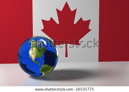 Blue marble and Canada flag - stock photo