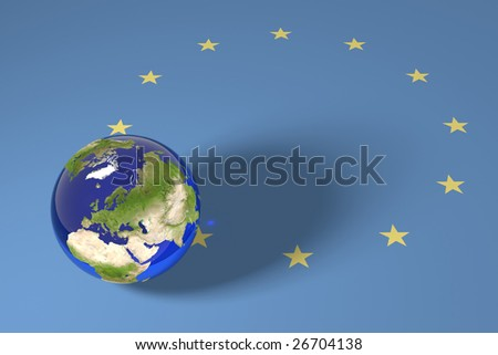 Blue Marble and European Union 12 starts flag - stock photo