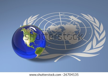Blue marble and UN flag - stock photo