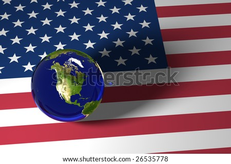 Blue Marble and US flag - stock photo