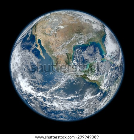"Blue marble earth view from outer space. ""Elements of this image furnished by NASA""  - stock photo"