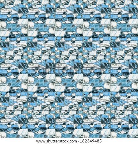 blue marble floor tiles - stock photo