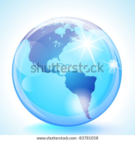 Blue marble globe showing the Pacific Ocean, the Americas and the Atlantic Ocean. - stock photo