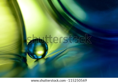 Blue marble in green - stock photo