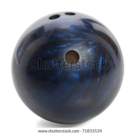 blue marbled bowling ball isolated on white - stock photo