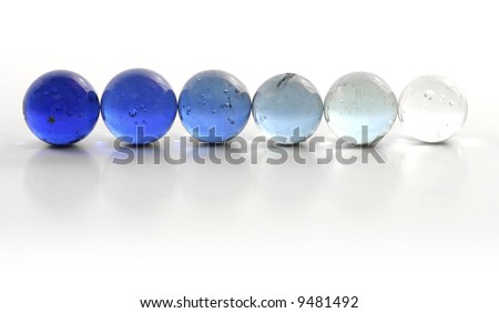 Blue Marbles Gradient Row - stock photo