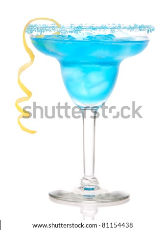 Blue Margarita cocktail drink with lemon twist in chilled salt rimmed glass with tequila, orange syrup, fresh mint, crushed ice in cocktails glass isolated on white background - stock photo