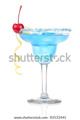 Blue Margarita cocktail with red cherry in chilled salt rimmed glass with tequila, orange syrup, tequila, lemon spiral, crushed ice in cocktails glass isolated on white background - stock photo