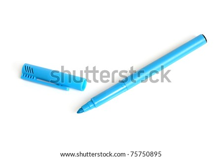 Blue marker on a white background - stock photo