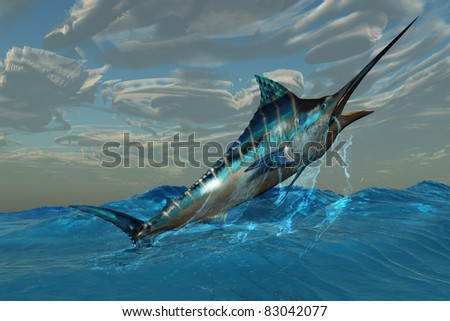 Blue Marlin Jump - An iridescent Blue Marlin bursts from ocean waters with with marvelous energy. - stock photo
