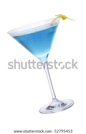 Blue Martini cocktail isolated. included clipping path - stock photo