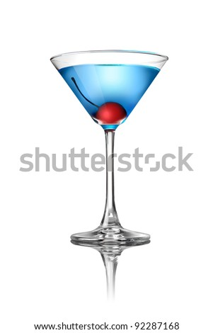 Blue martini cocktail isolated on white - stock photo