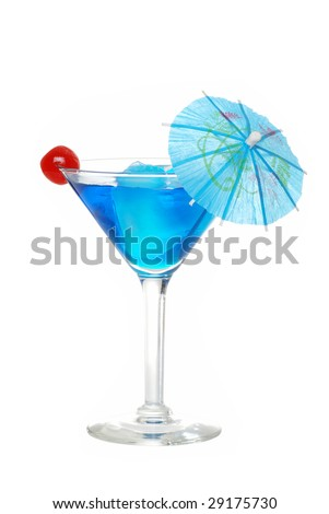 Blue martini with a cherry - stock photo
