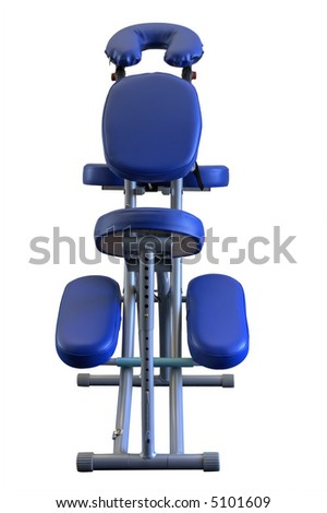 Blue Massage Chair from low front view, isolated. - stock photo