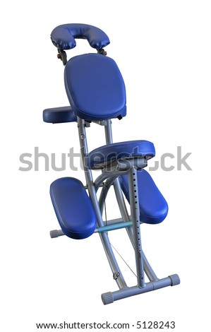 Blue Massage Chair, isolated. - stock photo