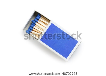 blue matches on white background - stock photo