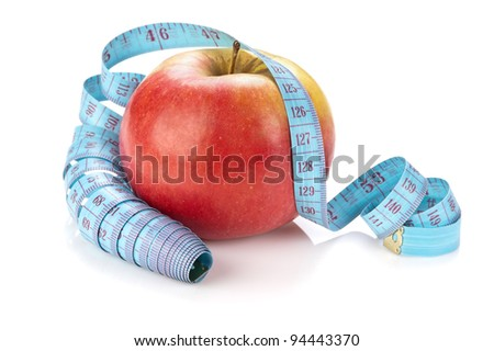blue measure tape and red apple  isolated on white background - stock photo