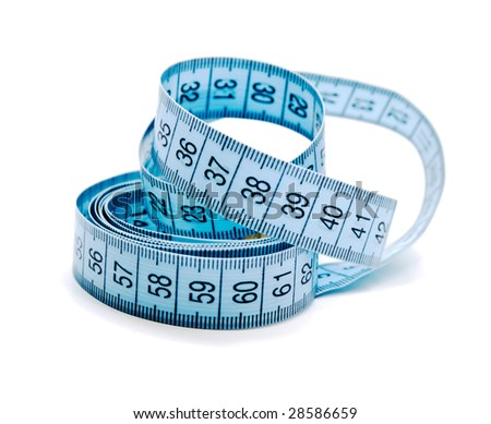 Blue measuring tape isolated on a white background - stock photo