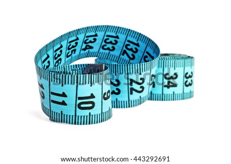 Blue measuring tape isolated on white background - stock photo