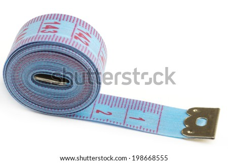 Blue measuring tape over white background - stock photo