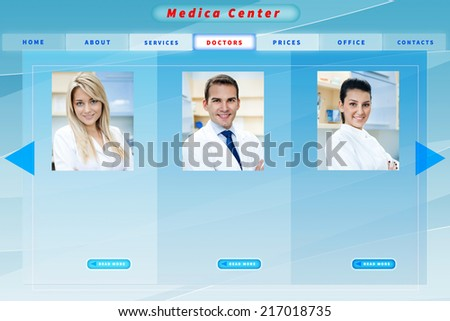 Blue medical business website template - stock photo