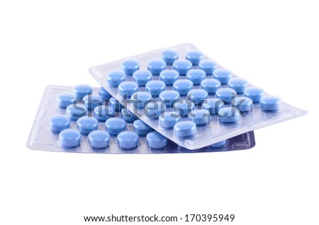 Blue medical pills isolated on white background - stock photo
