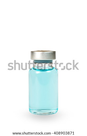 Blue Medical vials for injection , medical ampules isolated on white background isolated , Medicine ,drugs - stock photo