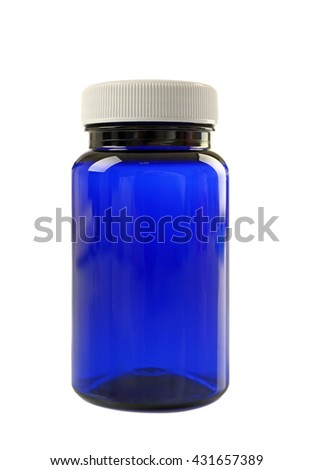 Blue medicine bottle isolated on white - stock photo