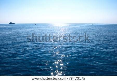 Blue Mediterranean sea in morning. - stock photo