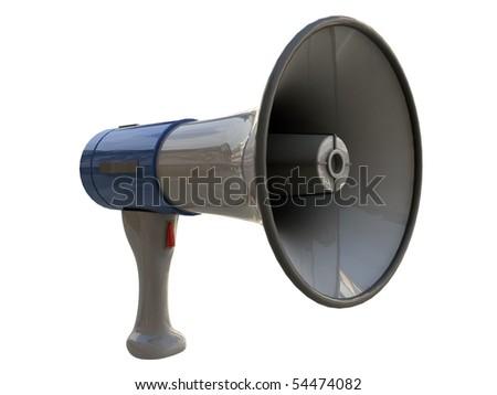 blue megaphone isolated on white background - stock photo
