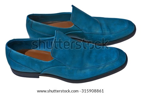 Blue men genuine leather shoes - stock photo
