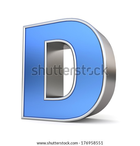 Blue metal alphabet 3D collection - letter D - stock photo