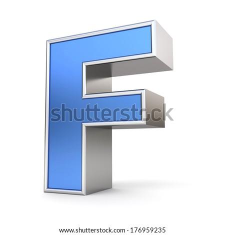 Blue metal alphabet 3D collection - letter F - stock photo