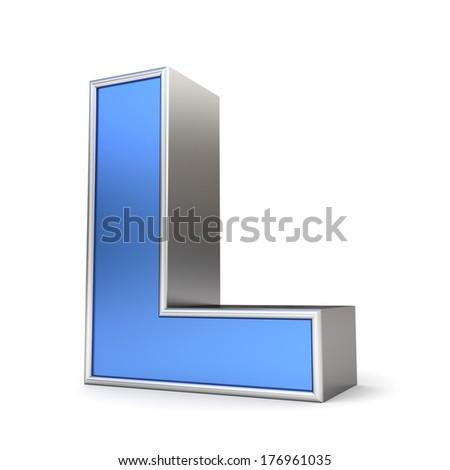 Blue metal alphabet 3D collection - letter L - stock photo