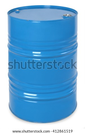 blue metal barrel, oil container isolated on white background - stock photo