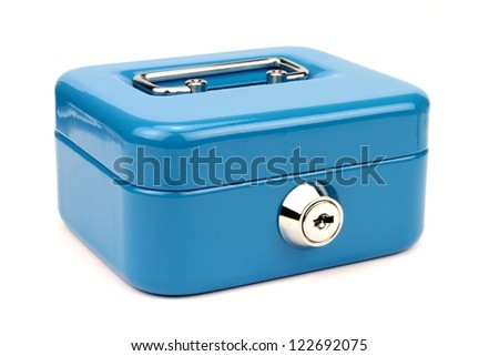 Blue metal cash box isolated on white background. - stock photo