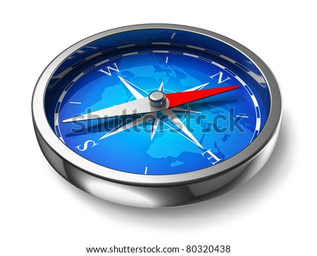 Blue metal compass isolated on white background - stock photo