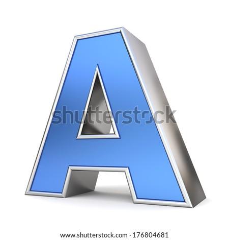 Blue metal 3D alphabet collection - letter A - stock photo