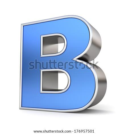 Blue metal 3D alphabet collection - letter B - stock photo