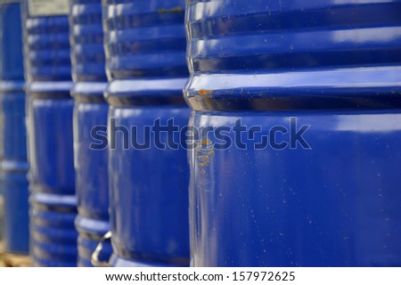 blue metal drum arrangement - stock photo