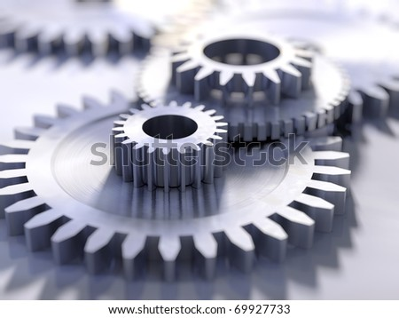 Blue metal gears close-up - stock photo