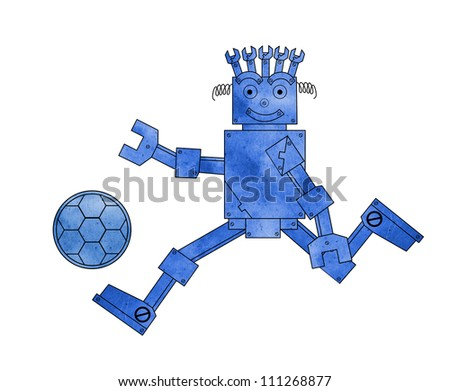Blue metal robot play football