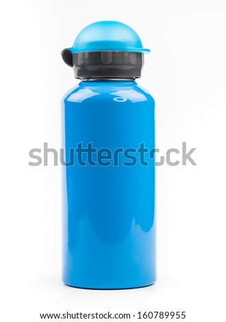 blue metal thermos isolated on white background  - stock photo
