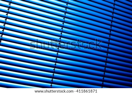 blue metallic blinds