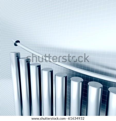 blue metallic columns of diagram with arrow rising upwards - stock photo