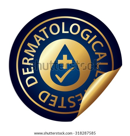 Blue Metallic Dermatologically Tested Infographics Peeling Sticker, Label, Icon, Sign or Badge Isolated on White Background  - stock photo